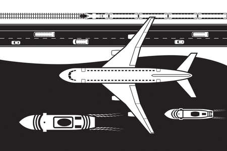 Passenger transportation by land, by air and by sea - vector illustration