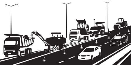 Repair of a highway in traffic – vector illustration