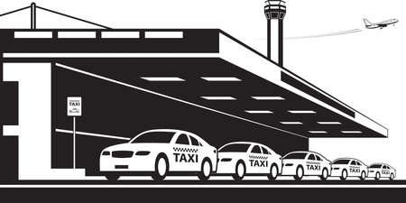Taxi service at airport - vector illustration