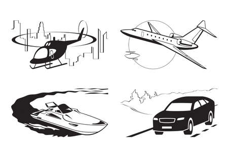 Luxury vehicles by air water and on the road – vector illustration Illusztráció