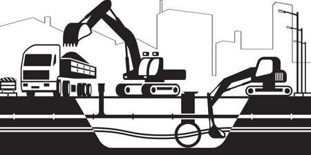 Truck and excavators repair installations under street - vector illustration