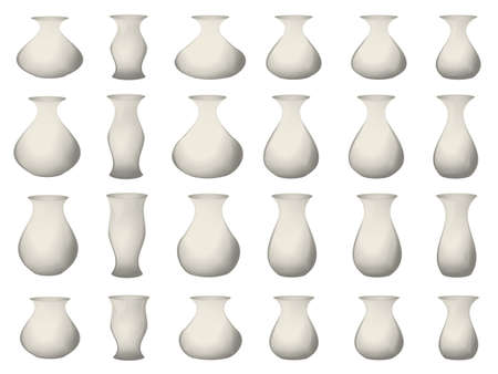 concave: Set of 24 subjects insulated glass transparent ware, pitchers, vases, and other, convex and concave, with reflections. All are isolated.