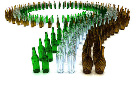 large number of green brown white empty bottles arranged on a curve Stock Photo