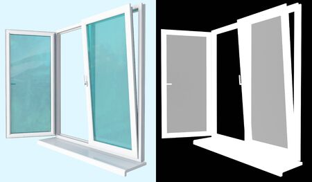 window made ​​of white plastic profilewith a transparent glazing, with two open doors of different types of opening photo