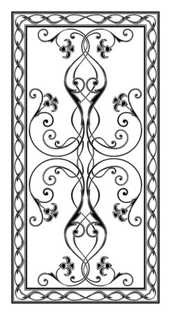 simetrichnyh pattern with floral ornament edged with openwork frame for use on tabletop Stock Photo