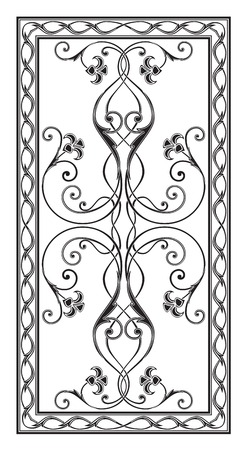 sandblasting: simetrichnyh pattern with floral ornament edged with openwork frame for use on tabletop Illustration