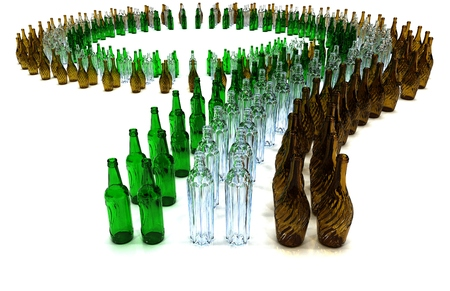 bottling line: large number of green brown white empty bottles arranged on a curve Stock Photo