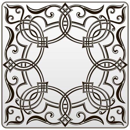 negro blanco simétrica patrón floral para el grabado