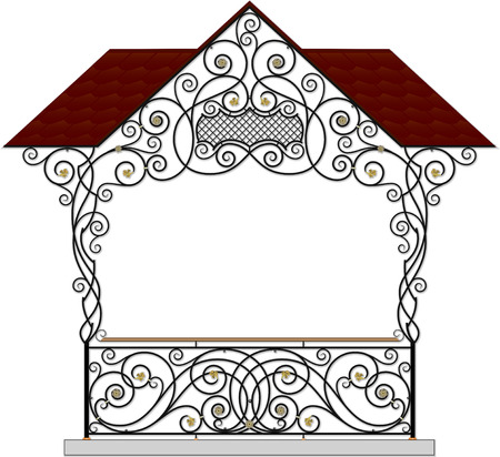 iron: Vector wrought iron modular railings and fences with canopy
