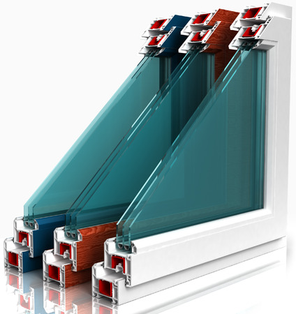 sectional door: three plastic window with a colorful laminated isolated on white