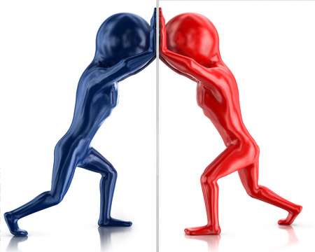 confrontation between two red and blue man isolated on white