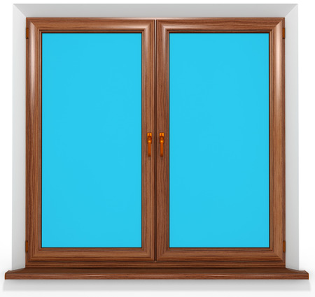 double glazing: Colored PVC laminated plastic double door window  isolated on white