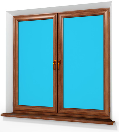 double glazing: Colored PVC laminated plastic double door window  isolated on white