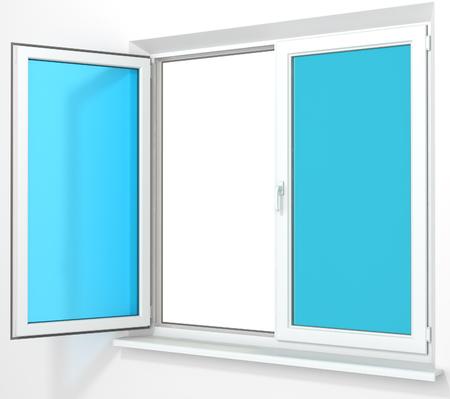 double glass: White PVC plastic double door window isolated on white