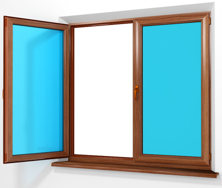 Colored Pvc Laminated Plastic Double Door Window Isolated On Stock