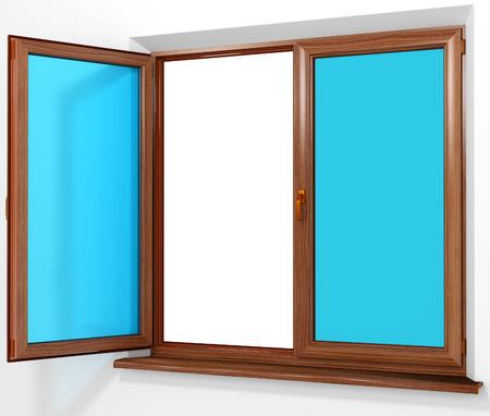 cerrar la puerta: PVC color laminado ventana de doble puerta de plástico aislado en blanco