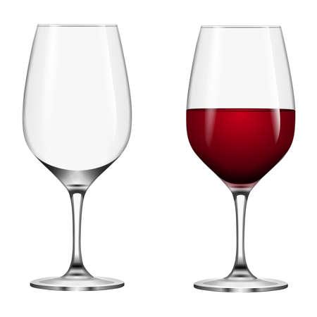 empty and full wine glasses Ilustrace