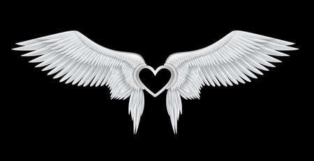 Silver heart on white realistic angel wings Фото со стока