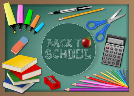 school realistic items and writing back to school on blackboard background