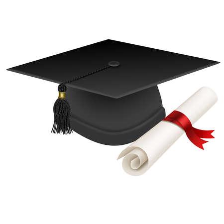 graduation hat and diploma realistic illustration