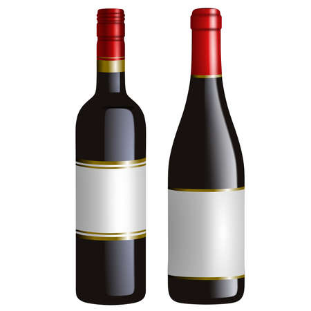 isolated red wine bottles realistic illustration