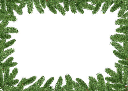 christmas frame background with pine branches