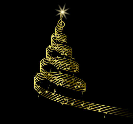 abstract christmas tree with music notes Archivio Fotografico - 133123500