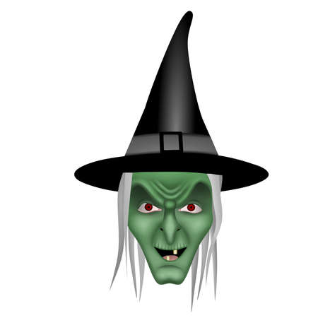 isolated witch head illustration