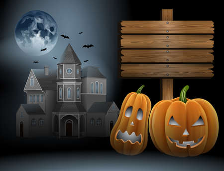 halloween background with full moon, bats, haunted house, wooden sign and pumpkins