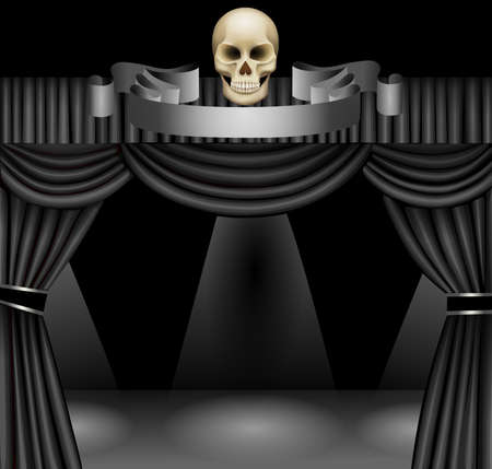 black curtain with skull, stage and spotlights Illustration