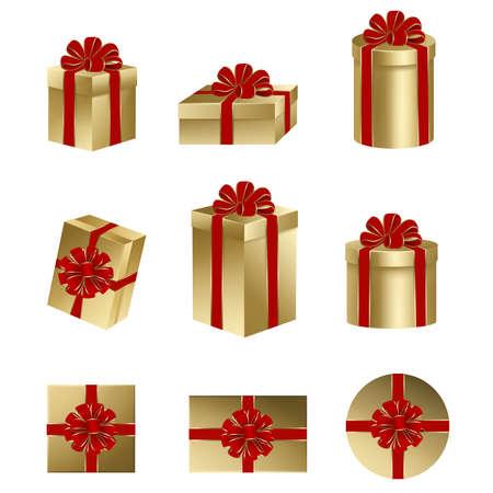 Establecer cajas de regalo de oro aisladas con lazo rojo y cinta