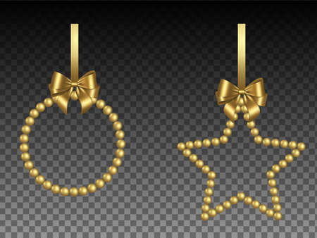 christmas frames with gold pearls and bow