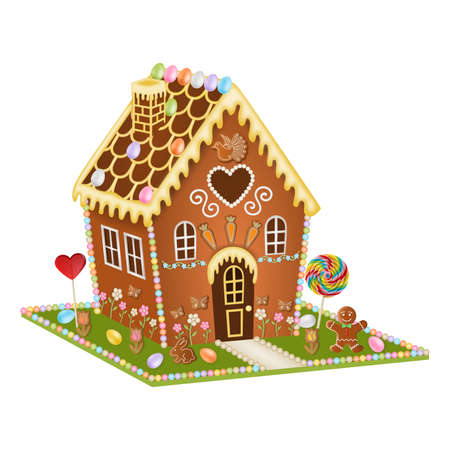 isolated gingerbread easter house on white background