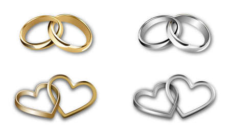 set of gold and silver wedding rings. heart-shaped and round-shaped rings