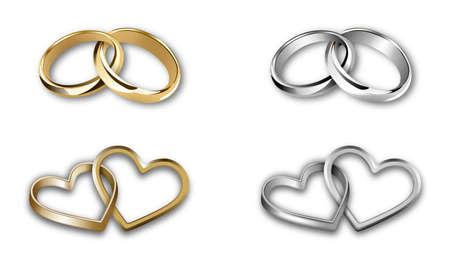set di fedi nuziali in oro e argento. anelli a forma di cuore e tondi
