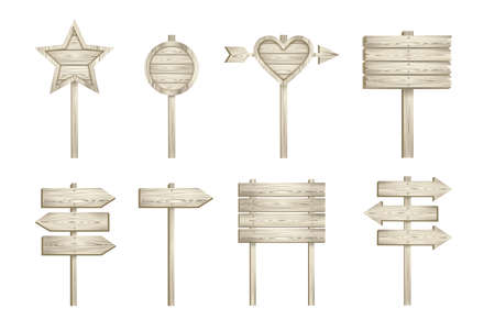 set of light wooden signs on white background