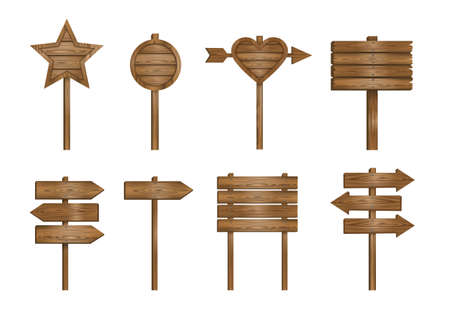 set of wooden signs on white background