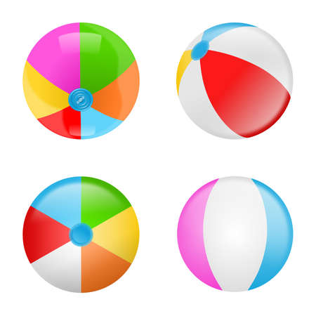 Set of colorful beach balls. Collection of inflatable rubber balls Vektorgrafik