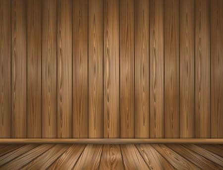 Empty wooden room. Wooden wall and floor