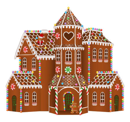 christmas gingerbread big house with candies