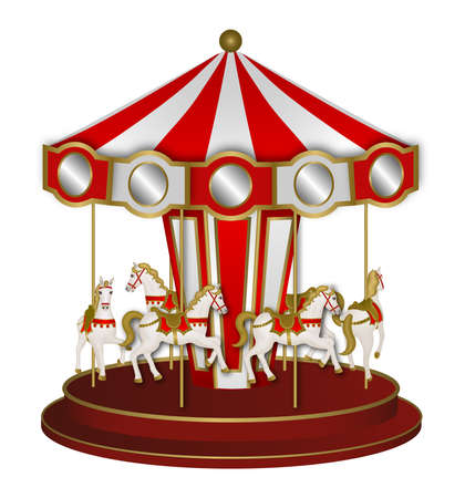White and red carousel with white horses