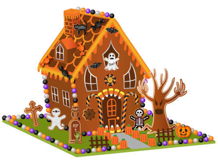 halloween gingerbread house with cookies and candies