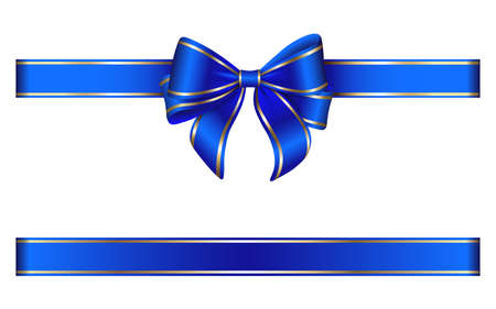 blue ribbon and bow with gold edging