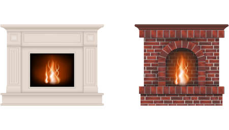 isolated fireplaces. white fireplace and fireplace with red bricks