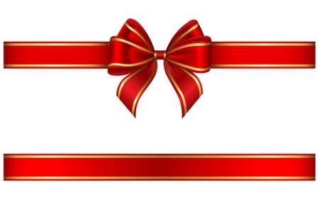 red ribbon and bow with gold edging Vektoros illusztráció