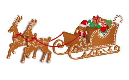 gingerbread sleigh with reindeers, gingerbread man and christmas candies Illustration