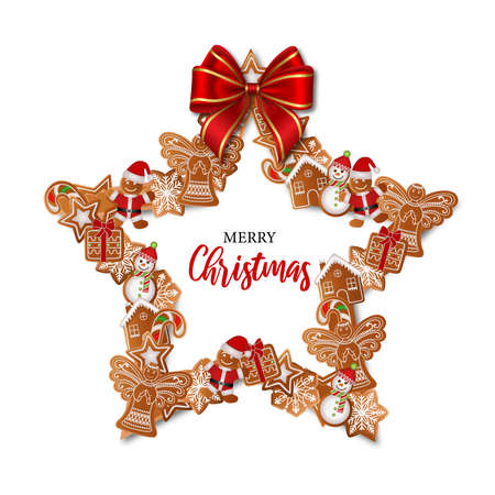 Christmas star-shaped frame with gingerbreads