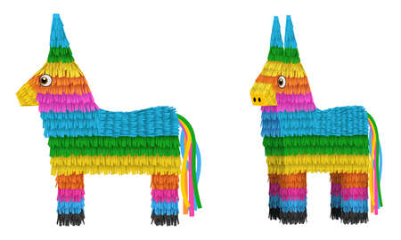 cinco de mayo elements isolated pinata donkeys illustration front and side view