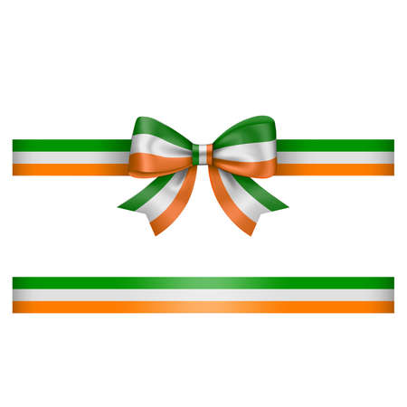 tricolor bow and ribbon. green, white and orange bow with ribbon. irish flag colors
