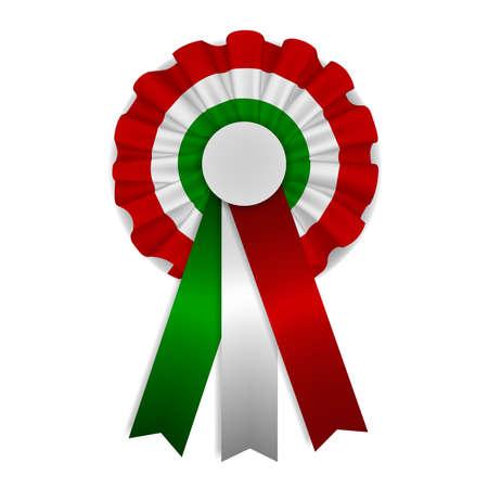 Tricolor isolated cockade. green, white and red cockade. italian cockade with ribbons Ilustración de vector